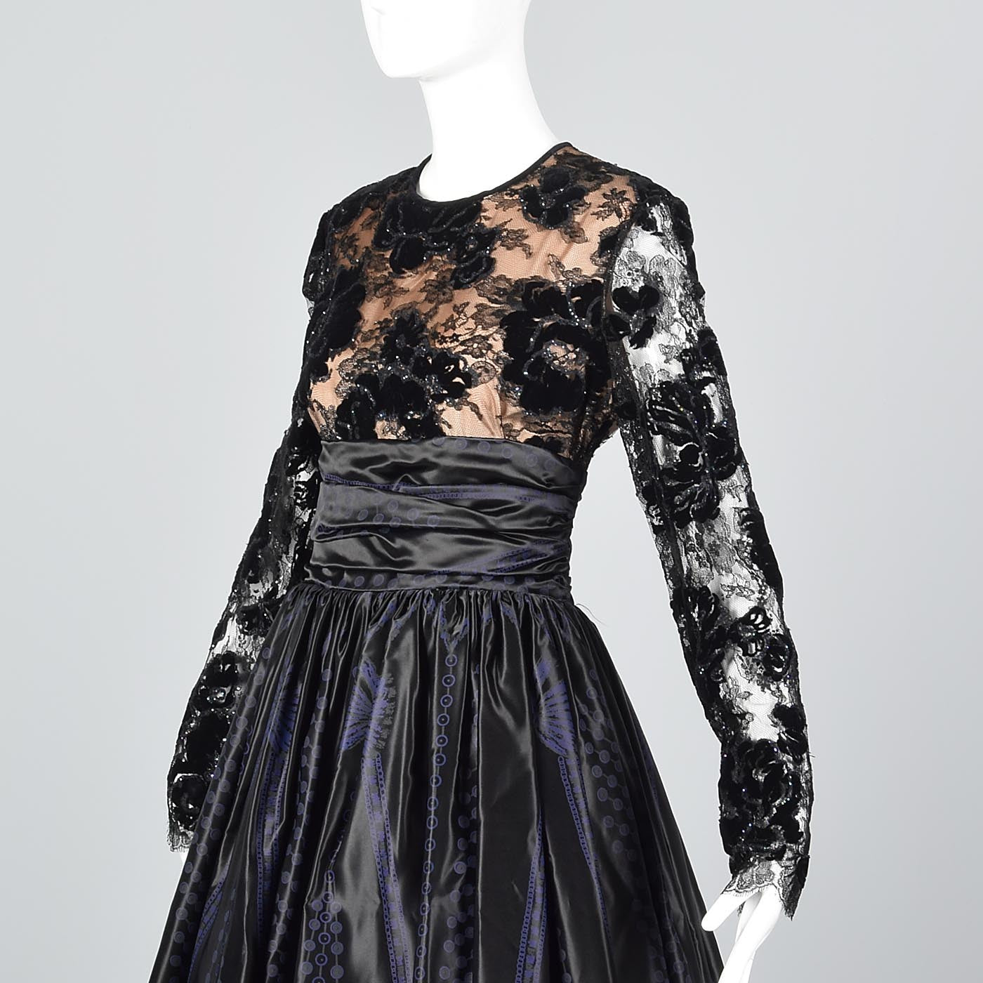 1980s Zandra Rhodes Ball Gown with a Lace Illusion Bodice