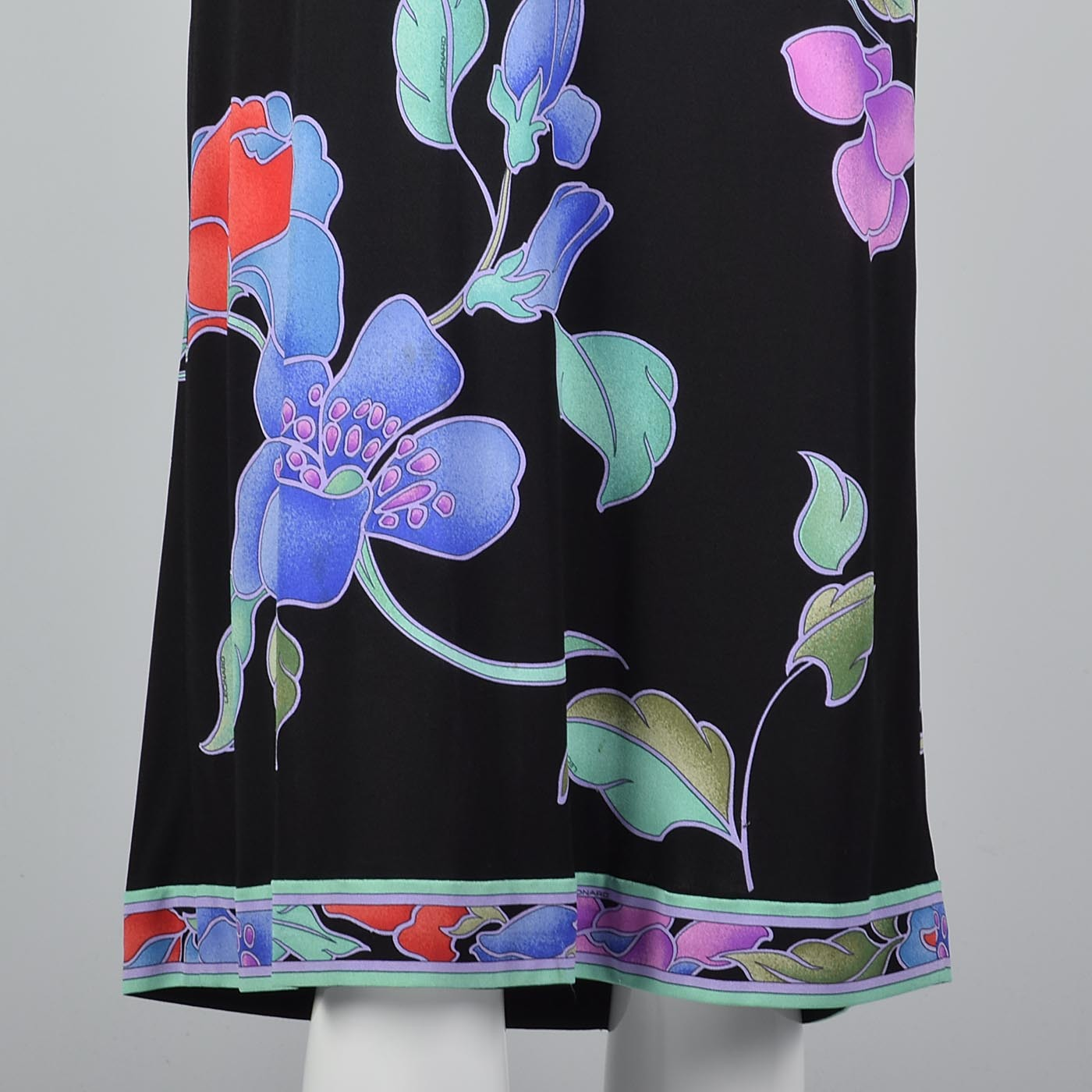 1980s Leonard Paris Black Floral Silk Jersey Dress