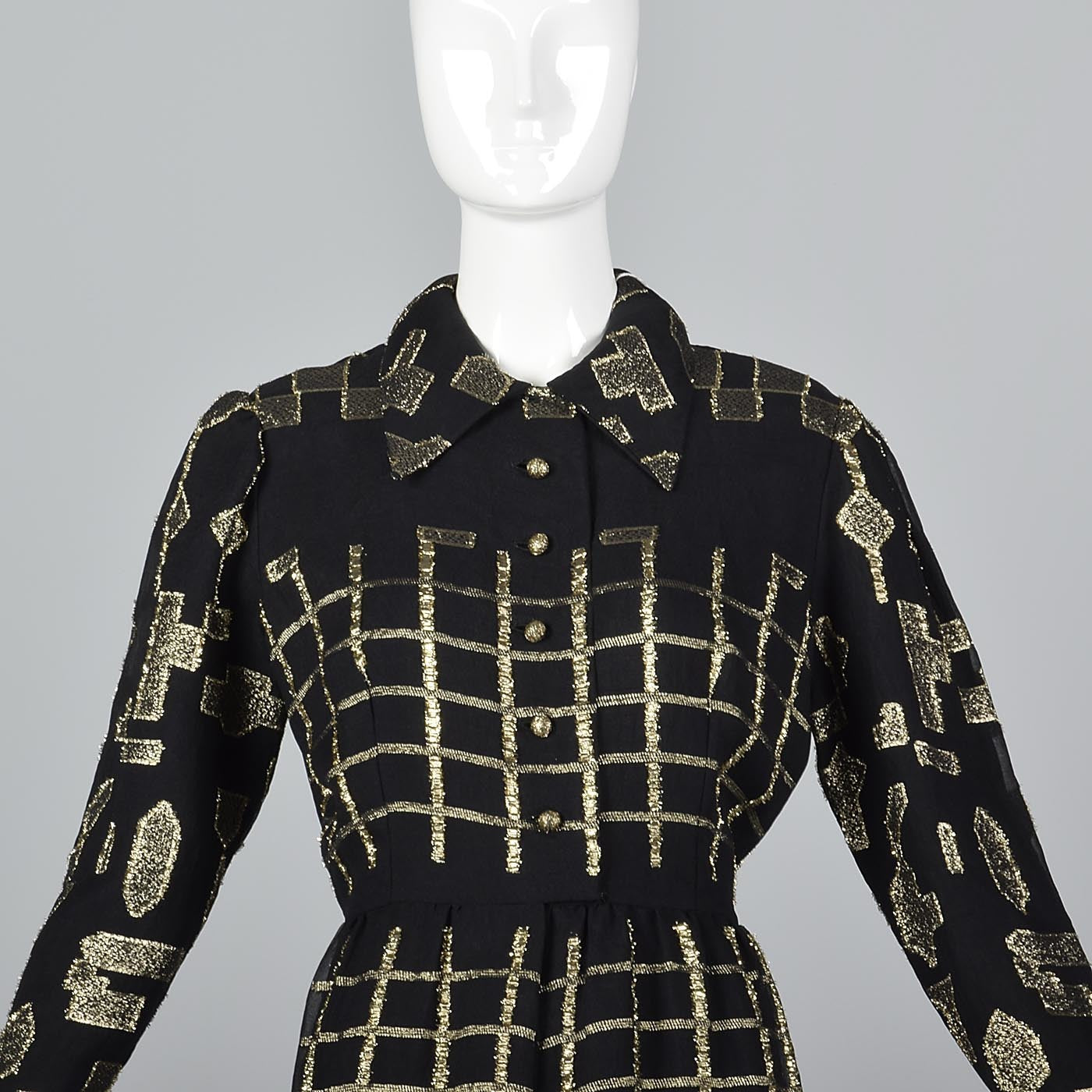 Oscar de la Renta Geometric Black & Gold Silk Dress