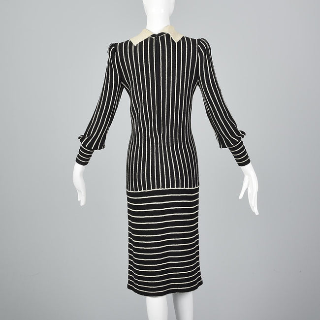 1970s Adolfo Long Sleeve Striped Knit Dress