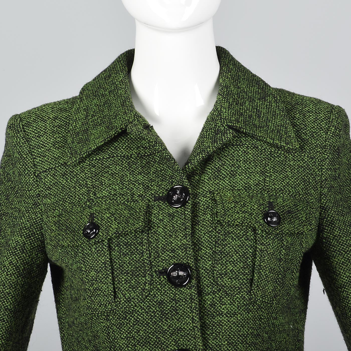 Moschino Cheap & Chic Green Tweed Skirt Suit