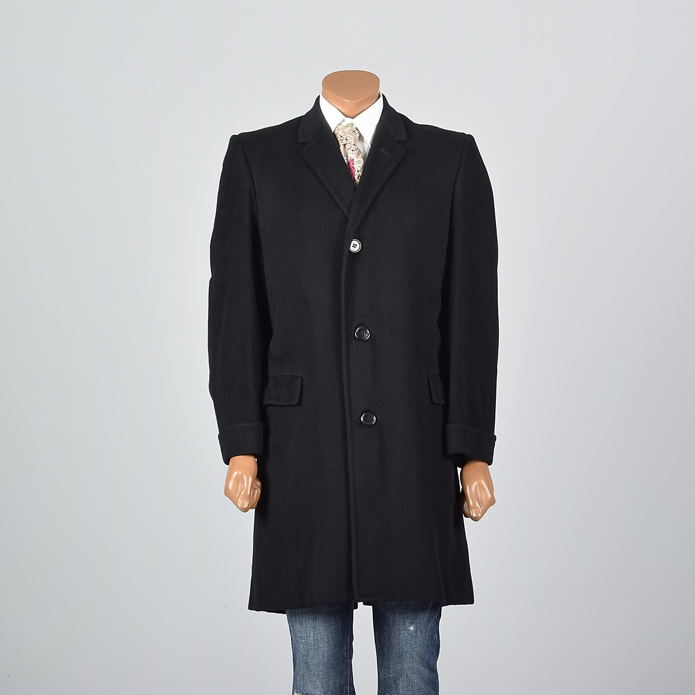 1950s Men's Black Cashmere Coat by Kuppenheimer