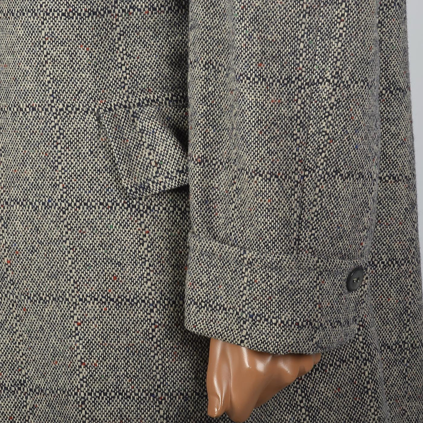 1950s Mens Tweed Windowpane Car Coat