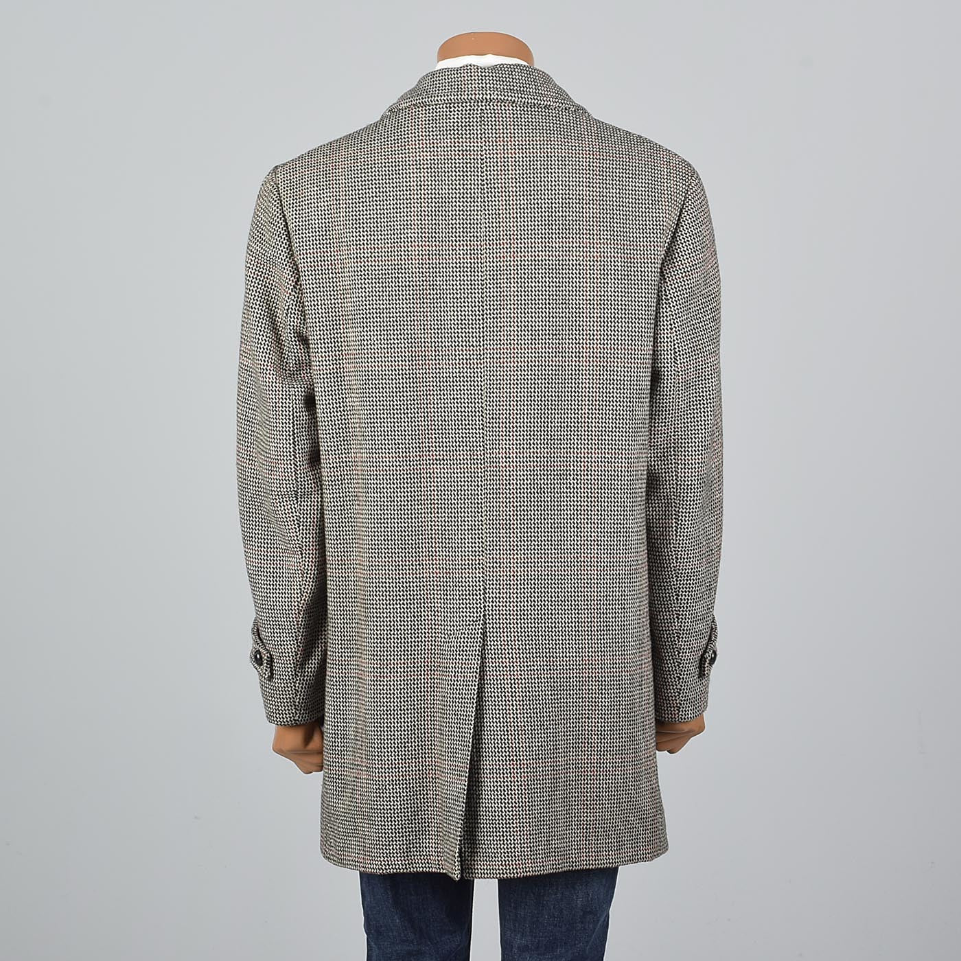 1970s Mens Tweed Coat in Windowpane Plaid