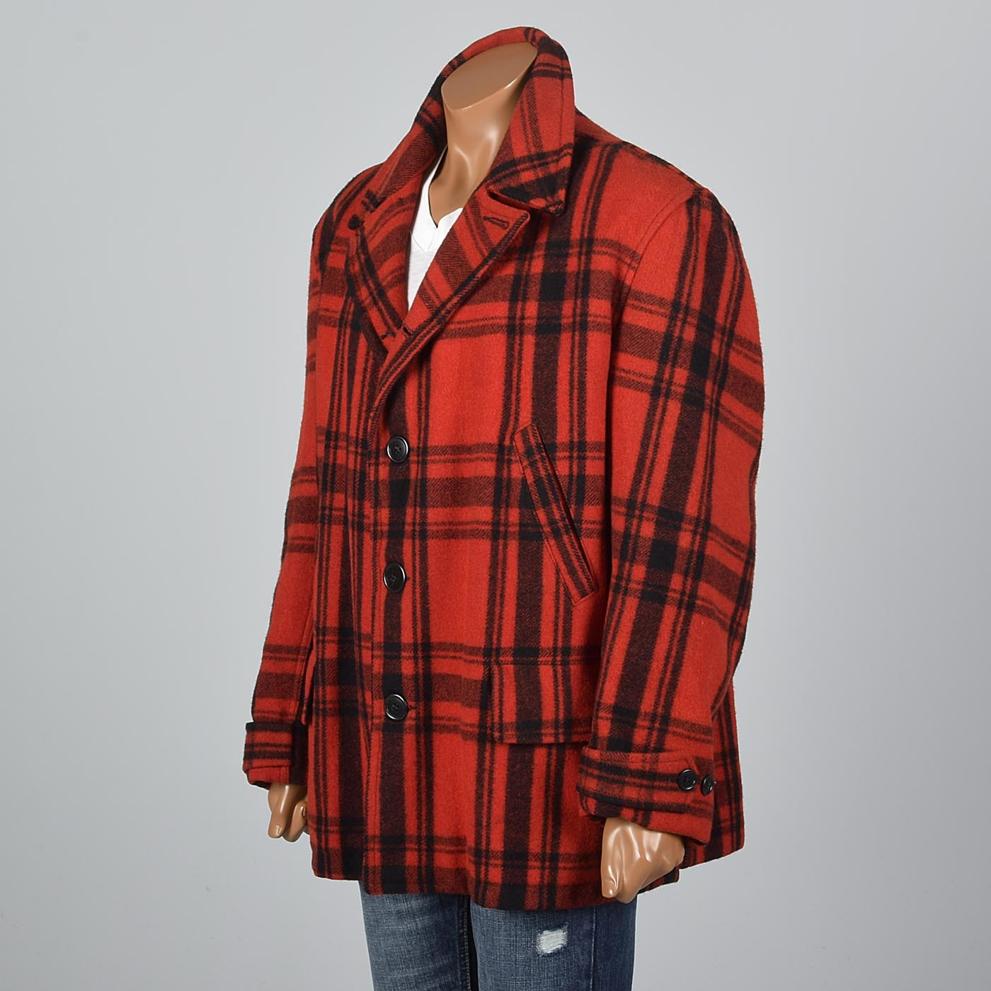1940s Men's Red Plaid Hunting Coat by Merrill Woolen Mills