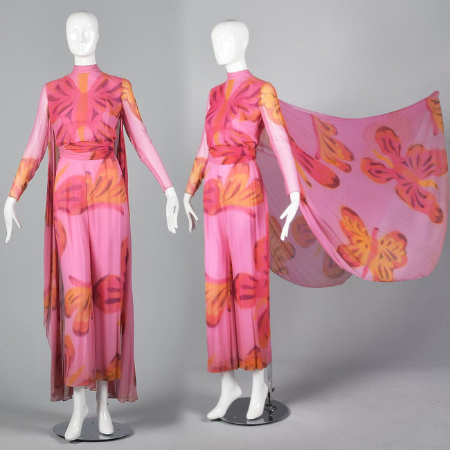 Over the Top 1960s  Butterfly Print Silk Jumpsuit with Cape from the  Sands Hotel Las Vegas