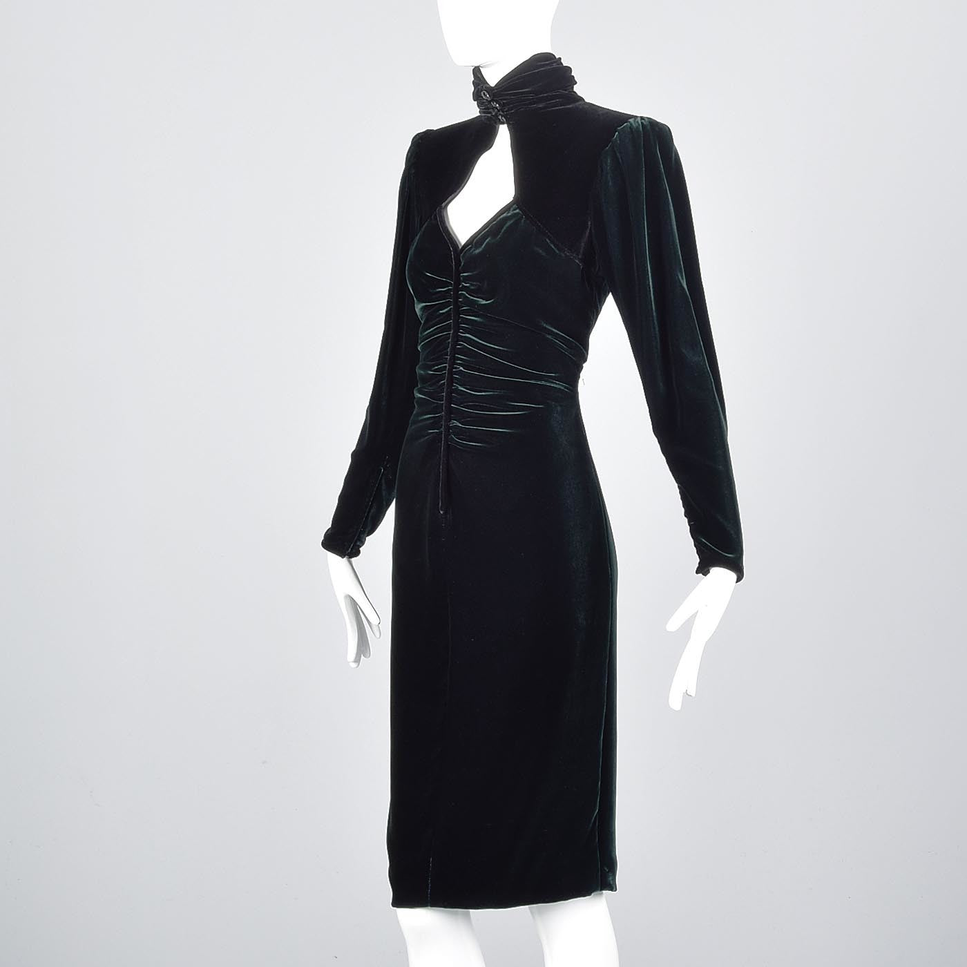 1980s Emmanuel Ungaro Parallele Green Velvet Dress with Keyhole Bust