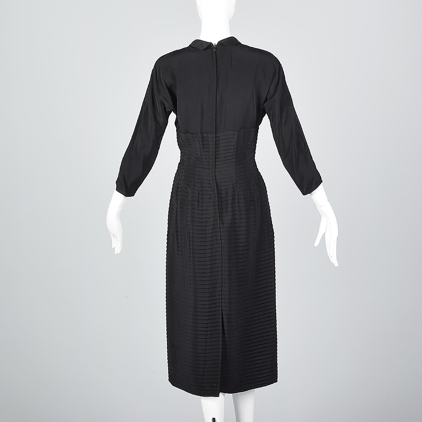 1950s Pleated Black Dress