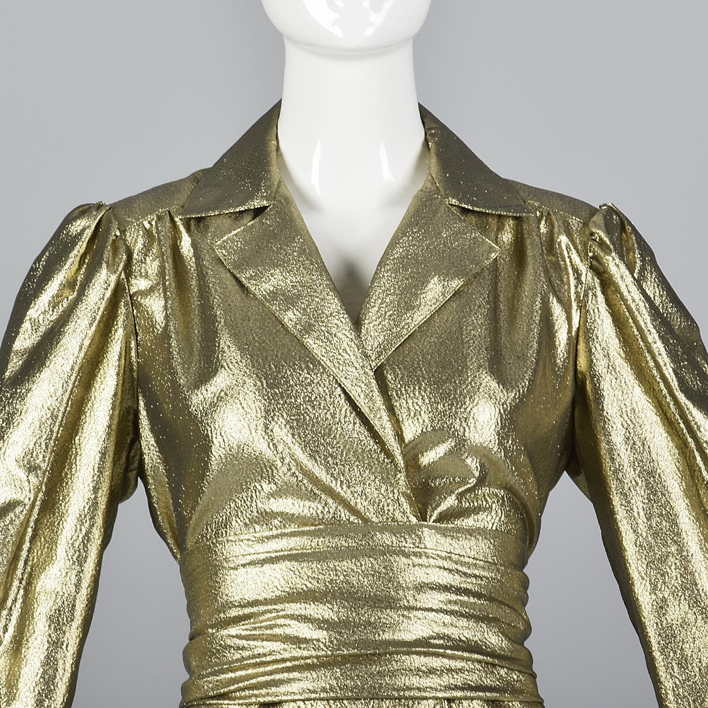 1970s Mollie Parnis Gold Lamé Blouse with Bishop Sleeves
