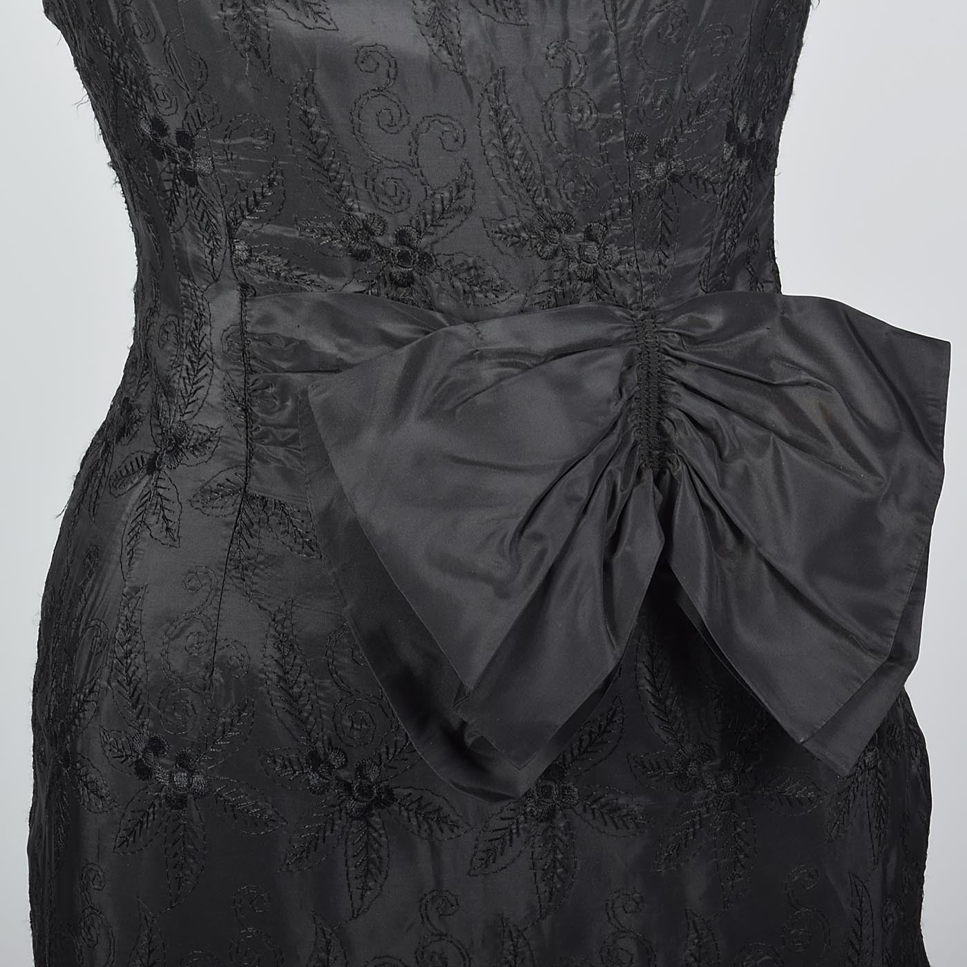1950s Black Dress with Black Floral Embroidery