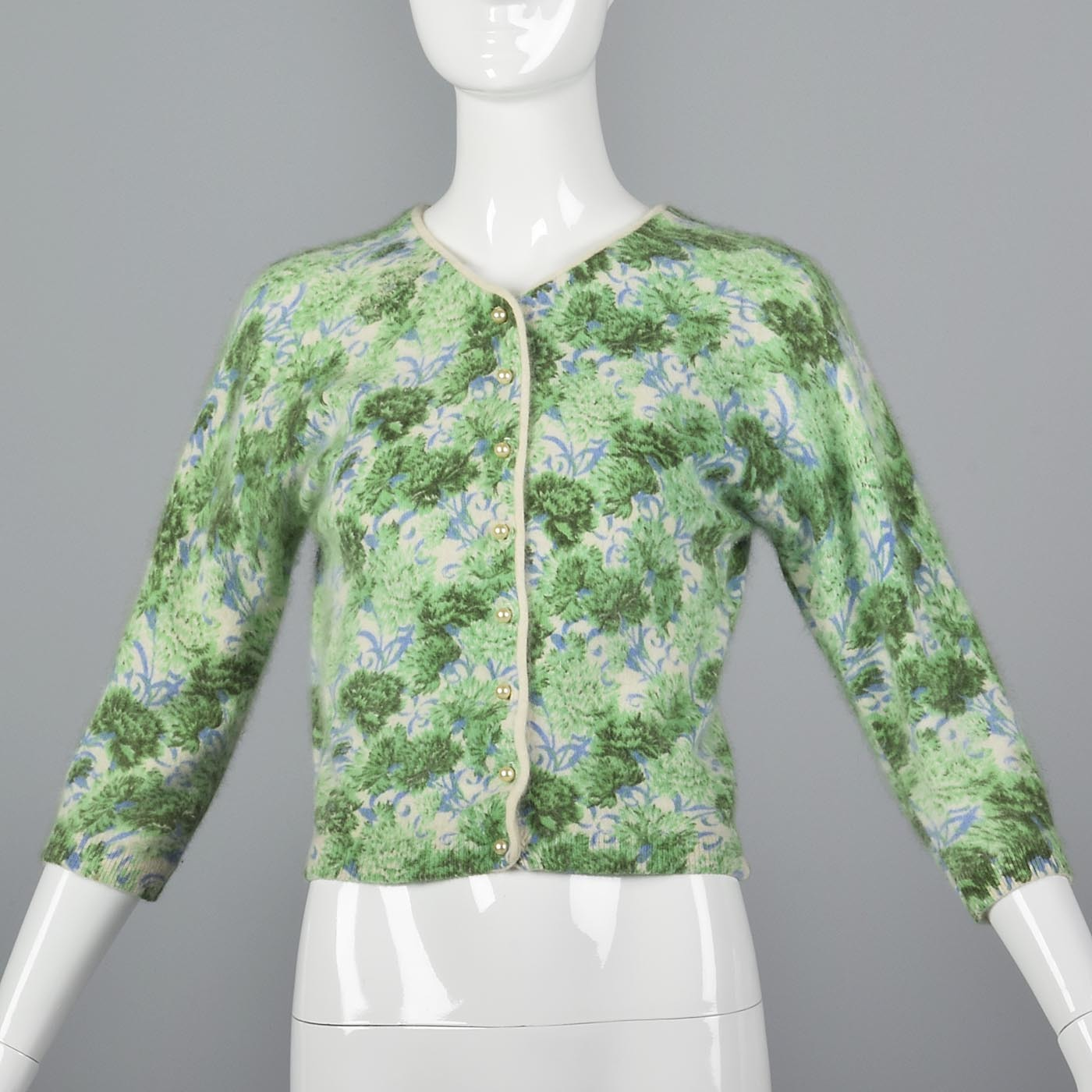 1960s Green and Blue Floral Print Angora Sweater
