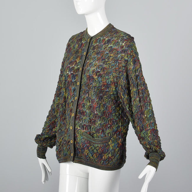 1980s Missoni Green Knit Cardigan Sweater