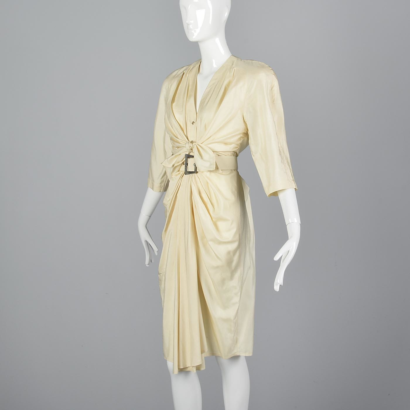 1980s Thierry Mugler Cream Silk Dress