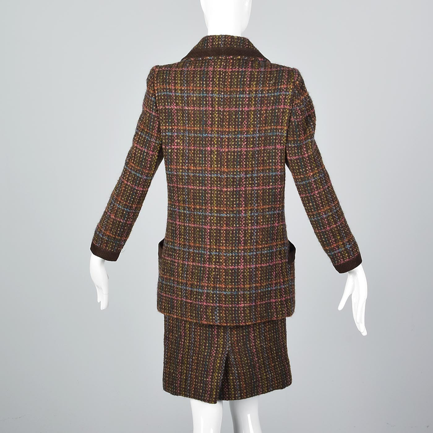1980s Salvatore Ferragamo Mohair Tweed Skirt Suit with Corduroy Trim