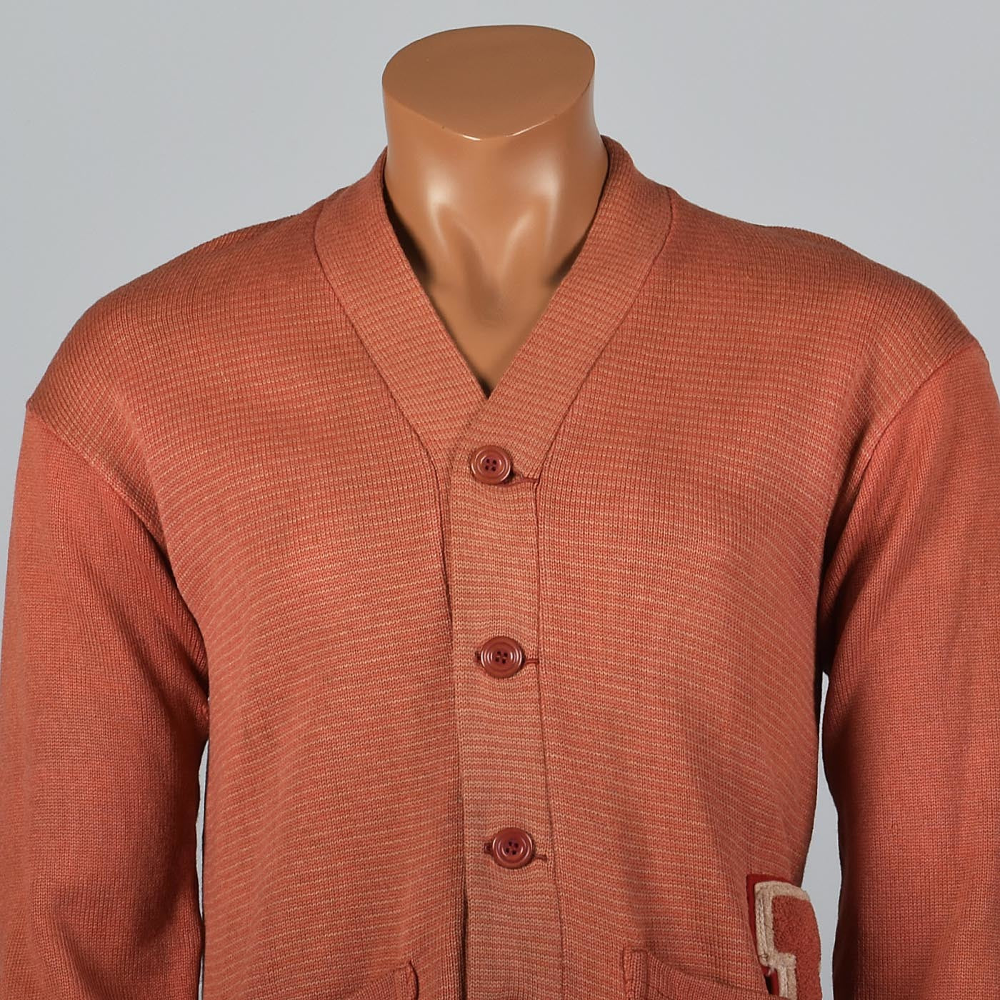 1930s Mens Orange Letterman Sweater