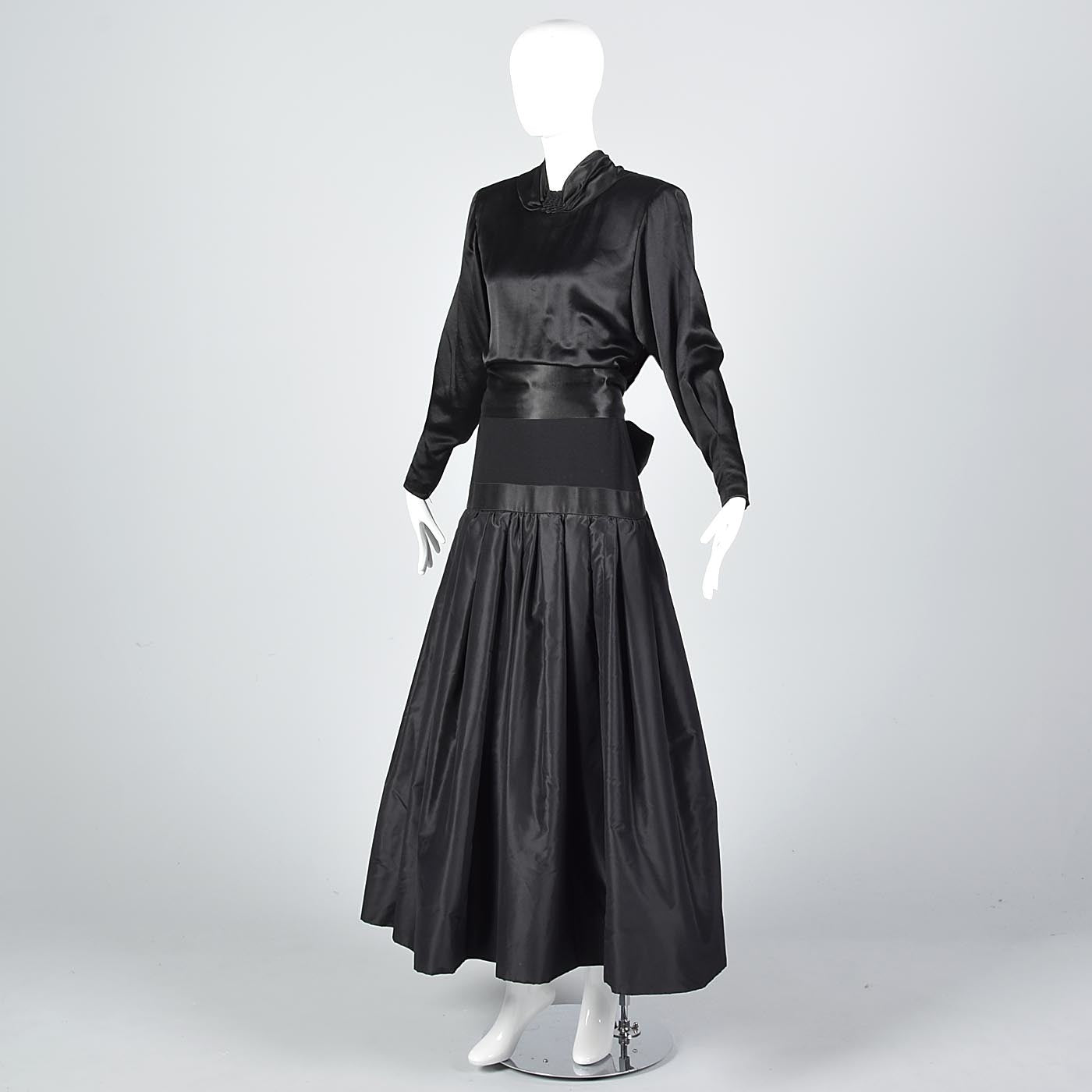 1980s Galanos Avant Garde Formal Black Gown