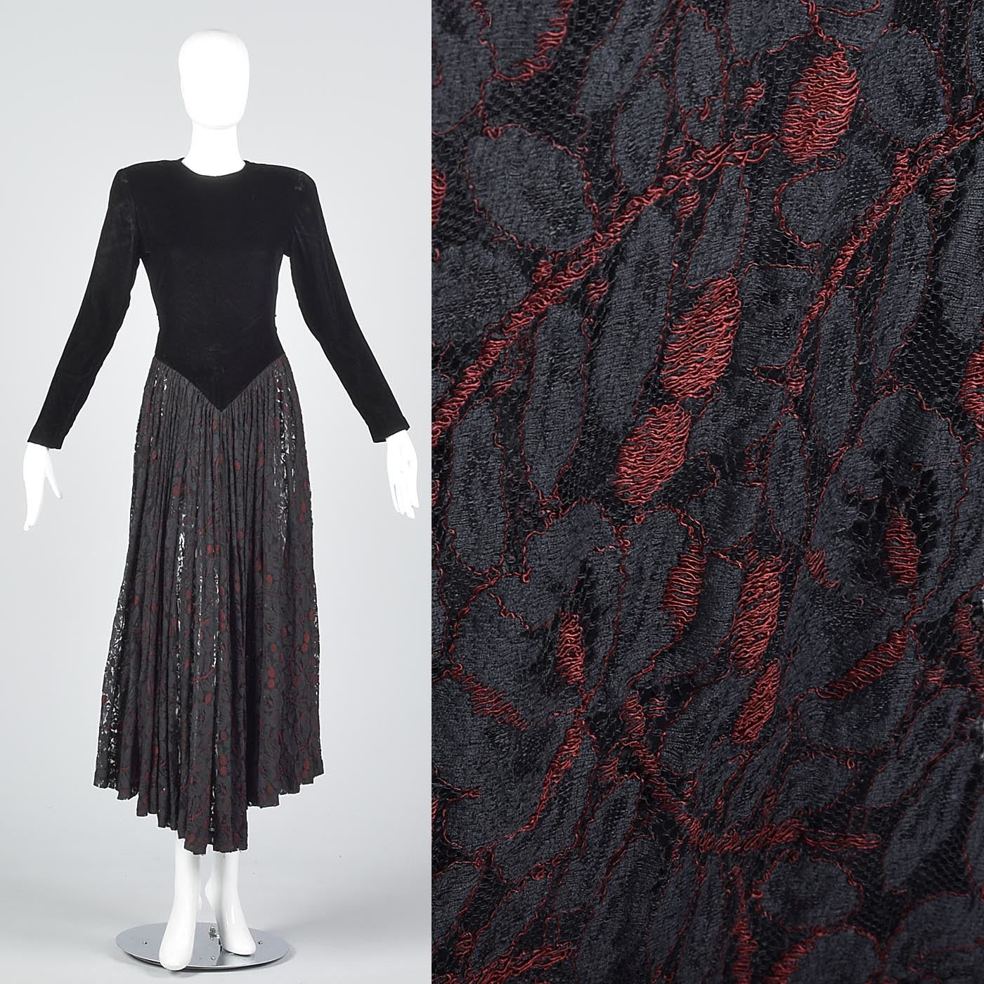1980s Norma Kamali Black Widow Velvet & Lace Dress