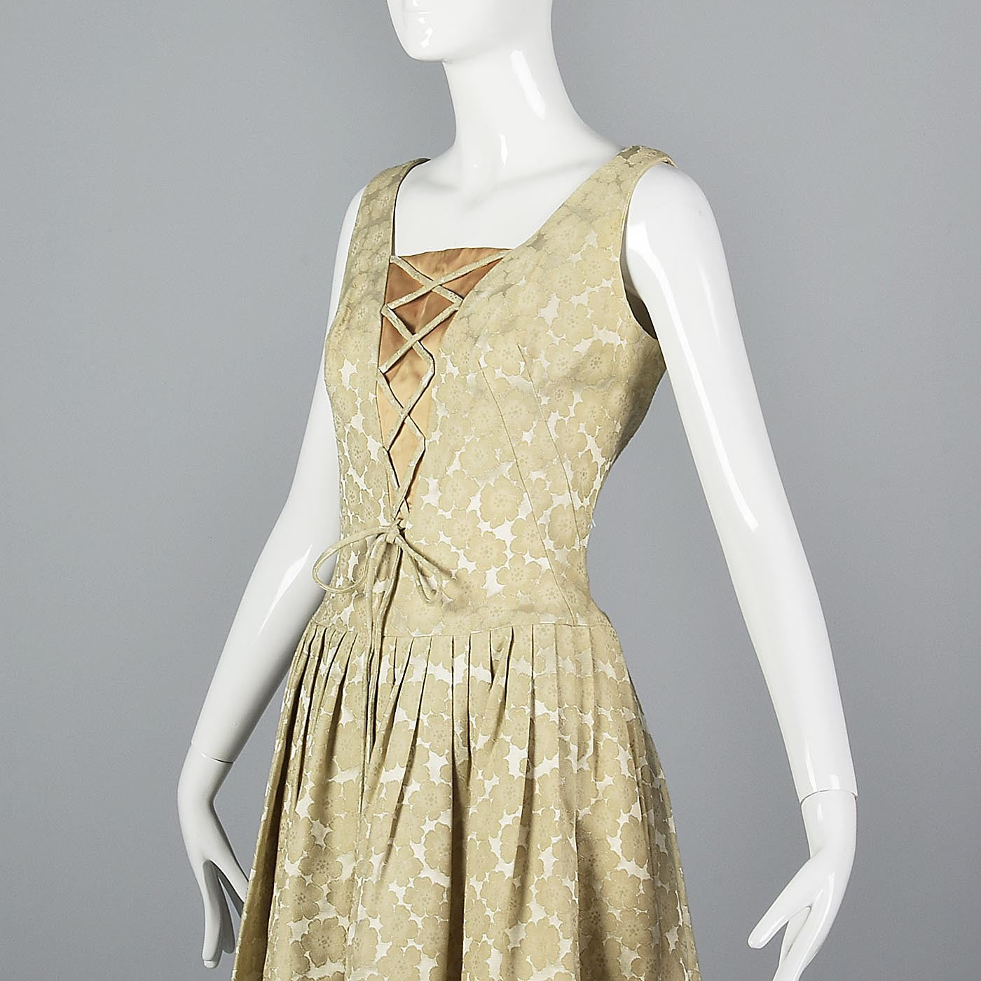 1950s Ivory Brocade Dress with Corset Illusion Front