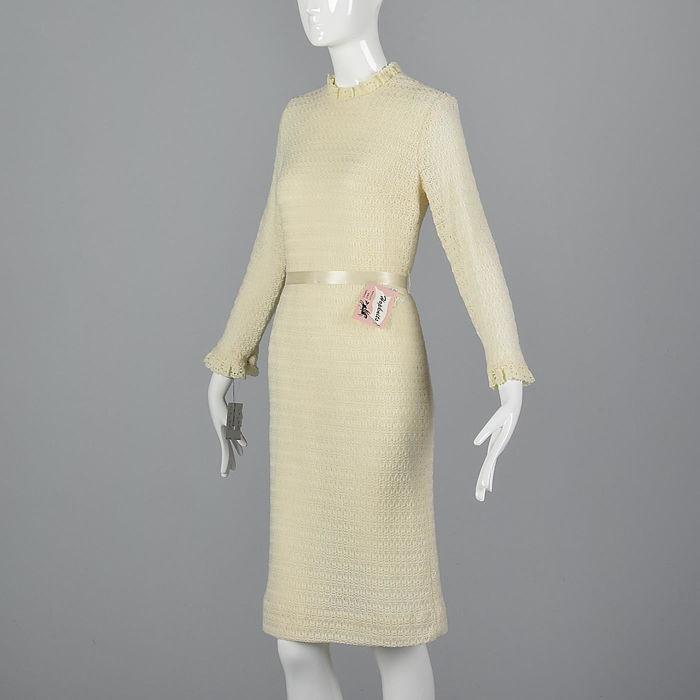 1960s Deadstock Cream Sweater Dress