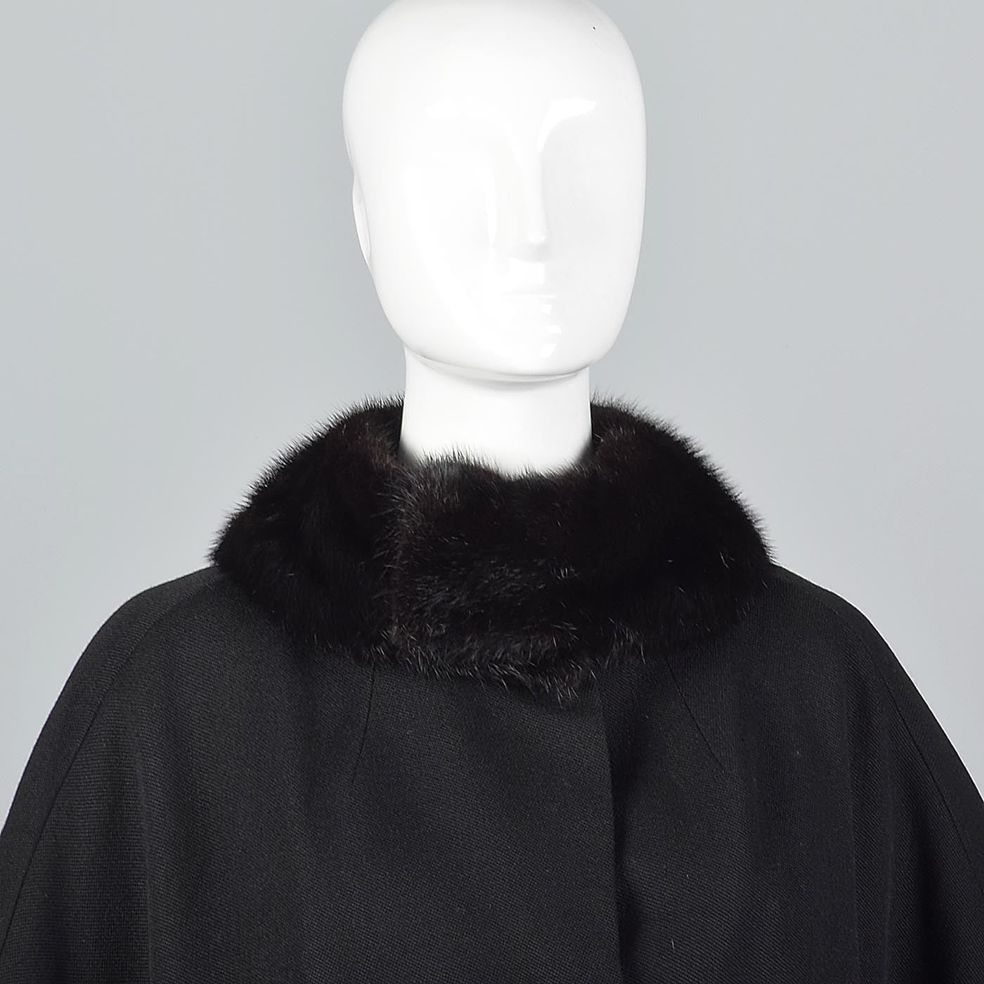 1960s Black Wool Swing Coat with Mink Collar