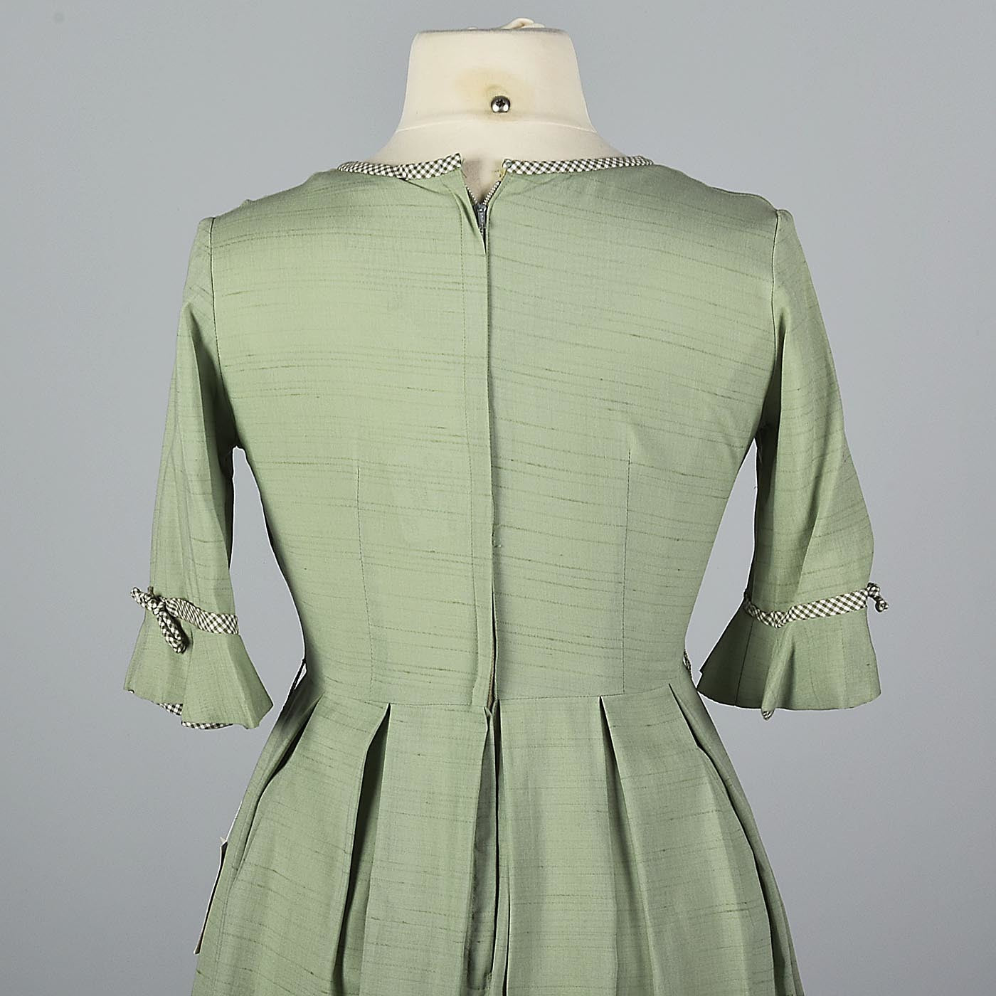 1950s Sage Green Day Dress with Gingham Trim