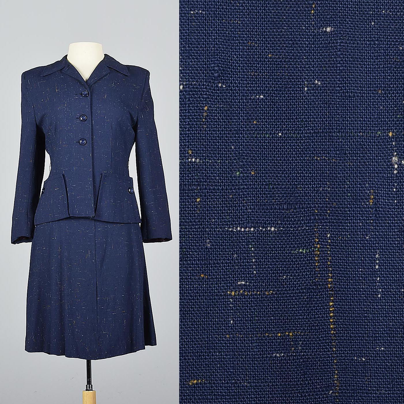 1940s Skirt Suit in Flecked Navy Fabric