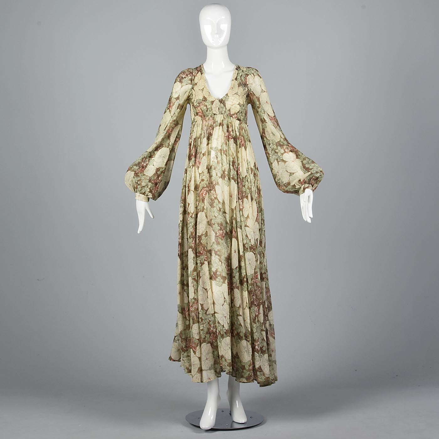 1970s Long Sleeve Bohemian Maxi Dress with a Massive Sweep