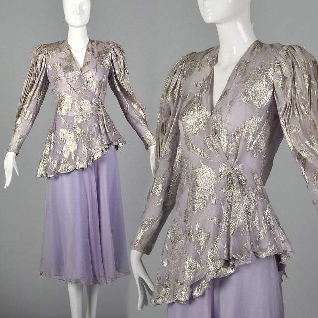 Small 1980s Metallic Lavender Two Piece Dress