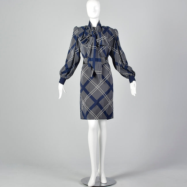 Medium Galanos 1980s Navy Blue Plaid Dress