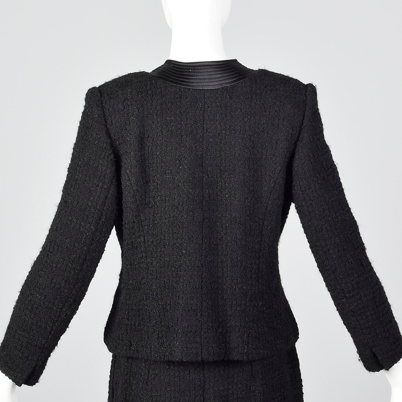 1960s Black Chunky Tweed Skirt Suit