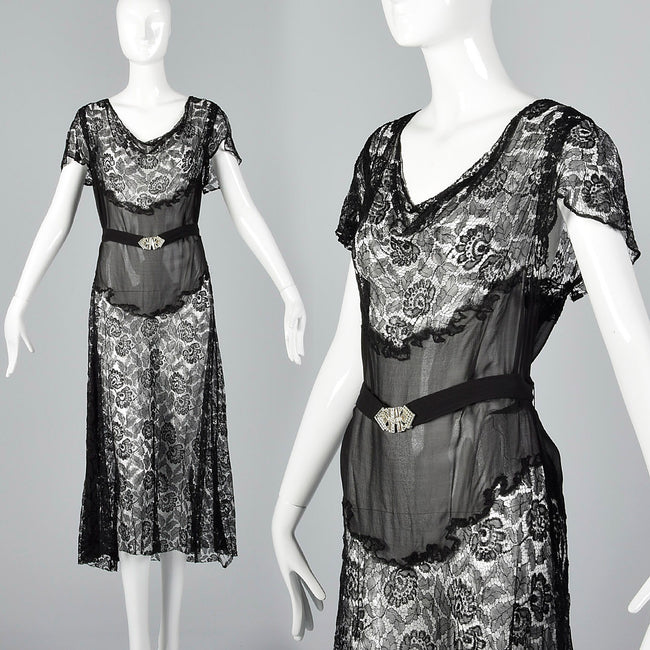 Small 1930s Sheer Black Lace Dress