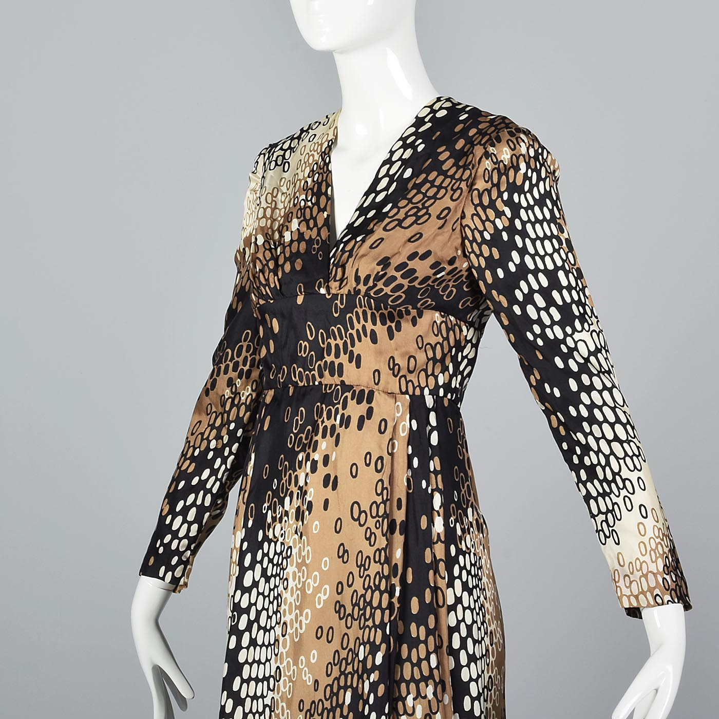1960s Silk Dress with White, Tan, and Black Op Art Print