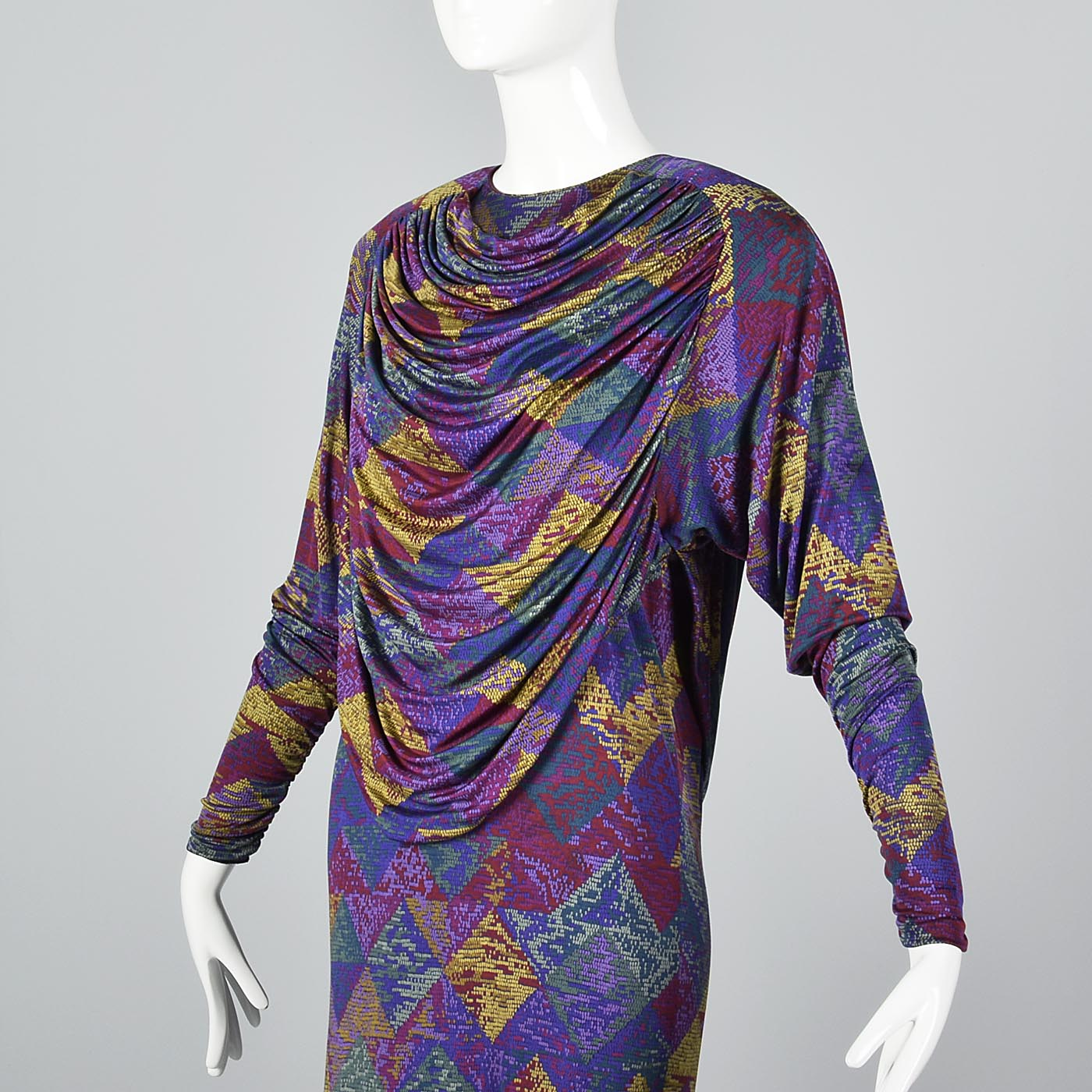 Missoni Purple Silk Jersey Dress with Draped Bodice