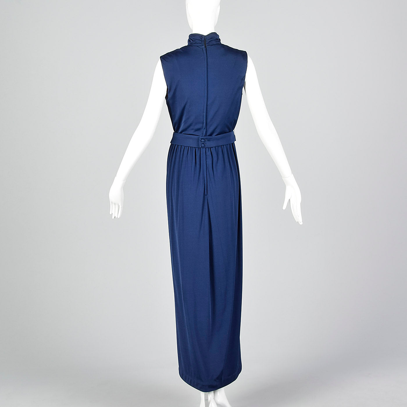1970s Lilli Diamond Maxi Dress with Draped Neckline