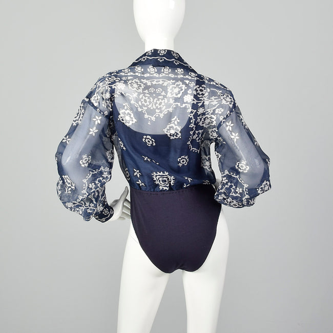 Medium 1990s Emanuel Ungaro Sheer Blouse and Attached Bodysuit
