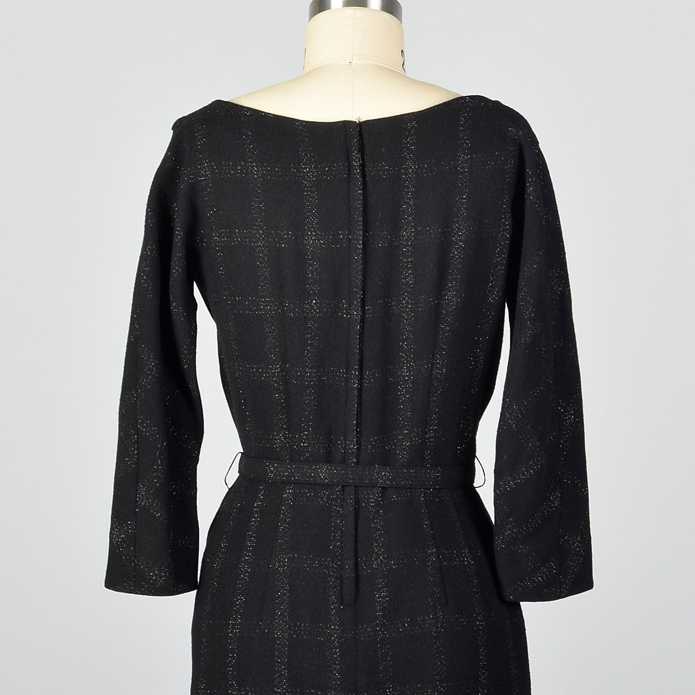 1950s Black Wool Dress with Silver Metallic Plaid