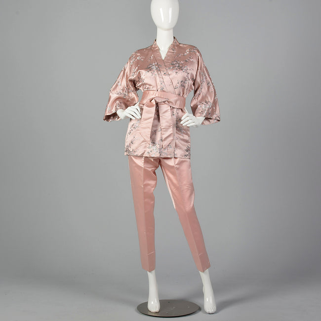 Dynasty 1960s Pink Silk Wrap Jacket and Cigarette Pant Set