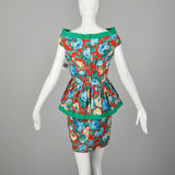 Small 1980s Off Shoulder Floral Peplum Dress Green Trim