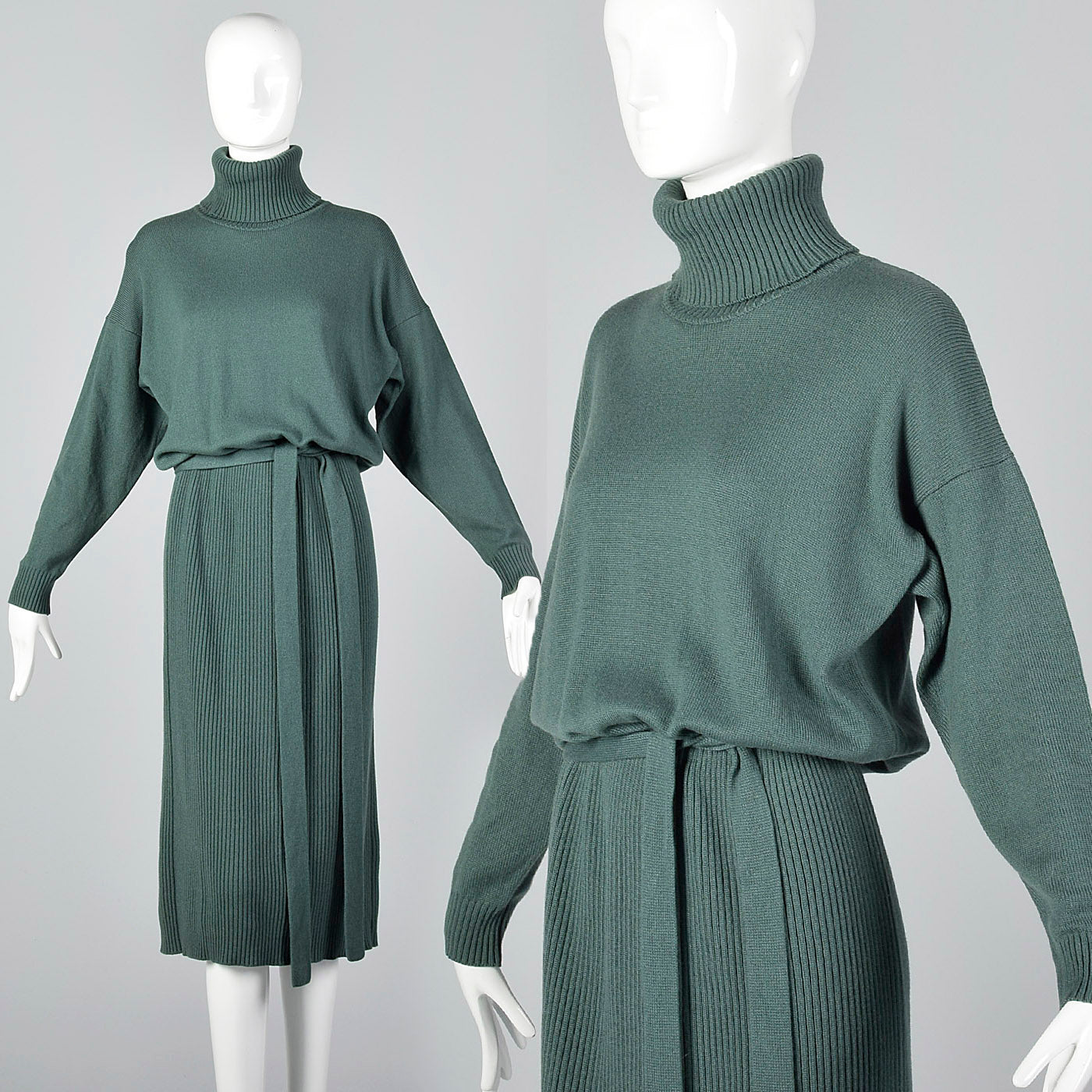1980s Sage Green Cashmere Dress