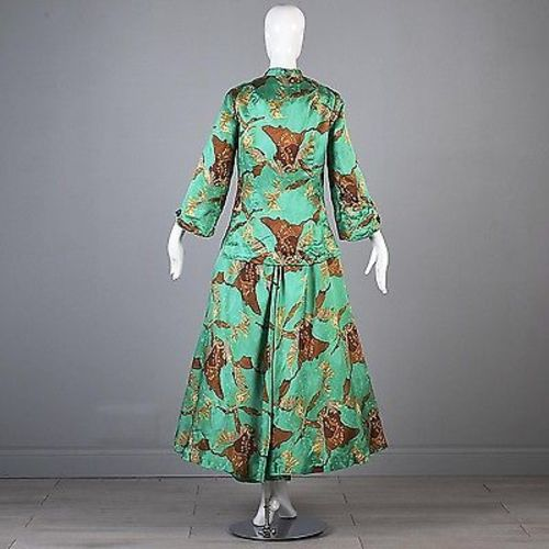 1950s Green Silk Gown with Matching Jacket