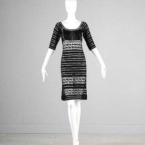 1970s Sheer Black Crochet Midi Dress