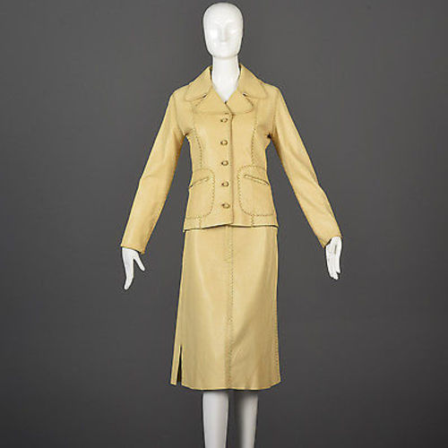1970s North Beach Leather Skirt Suit with a Whipstitch Blazer