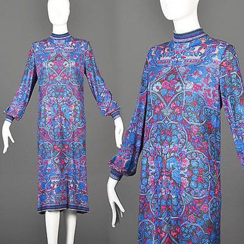 1960s Leonard Paris Loose Long Sleeve Silk Knit Dress in Purple