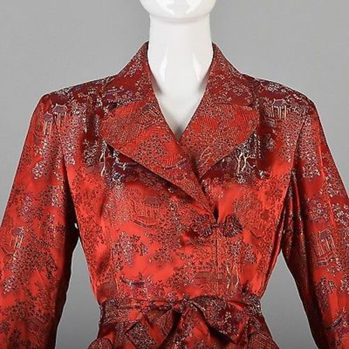 1940s Glamorous Red Brocade Dressing Gown