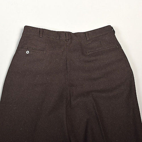 36 x 36 Mens NOS VTG Wool Pants Italy Made Dark Brown Pleated Front