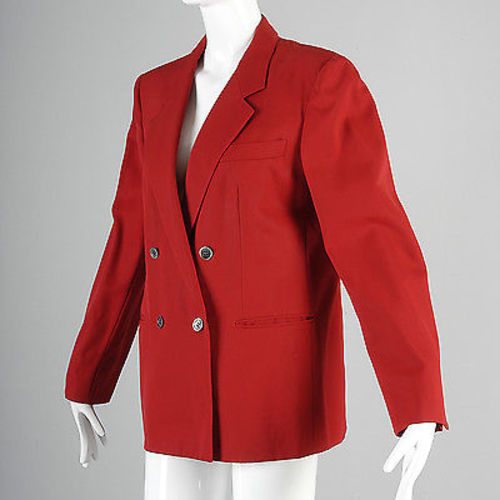 1980s Bright Red Burberry Boyfriend Blazer