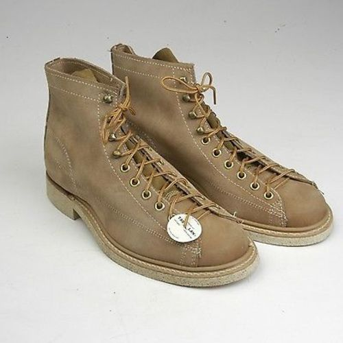 Deadstock 1960s Men's Tan Leather Monkey Boots Workwear