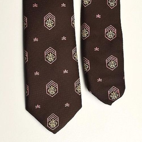 1950s Silk Brown Pink Crest Necktie