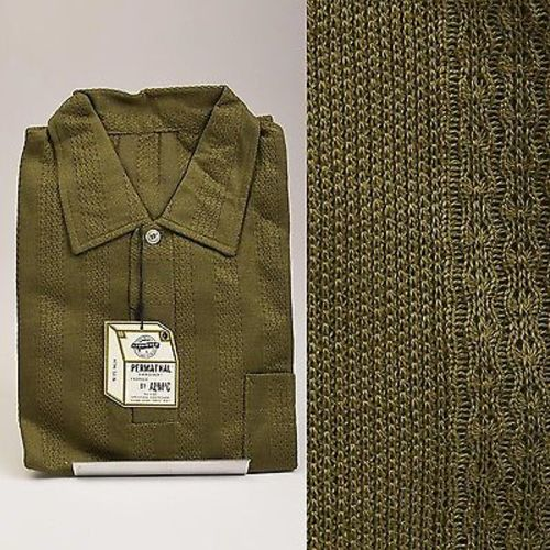 1950s Mens Deadstock Olive Green Pull Over Shirt