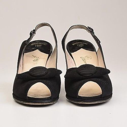 1950s Black Peeptoe Shoes with Matching Purse